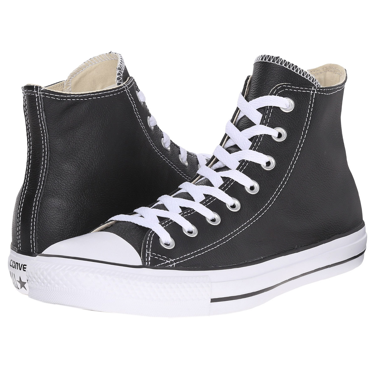 converse chucks hi leather damen schuhe schwarz leder. Black Bedroom Furniture Sets. Home Design Ideas