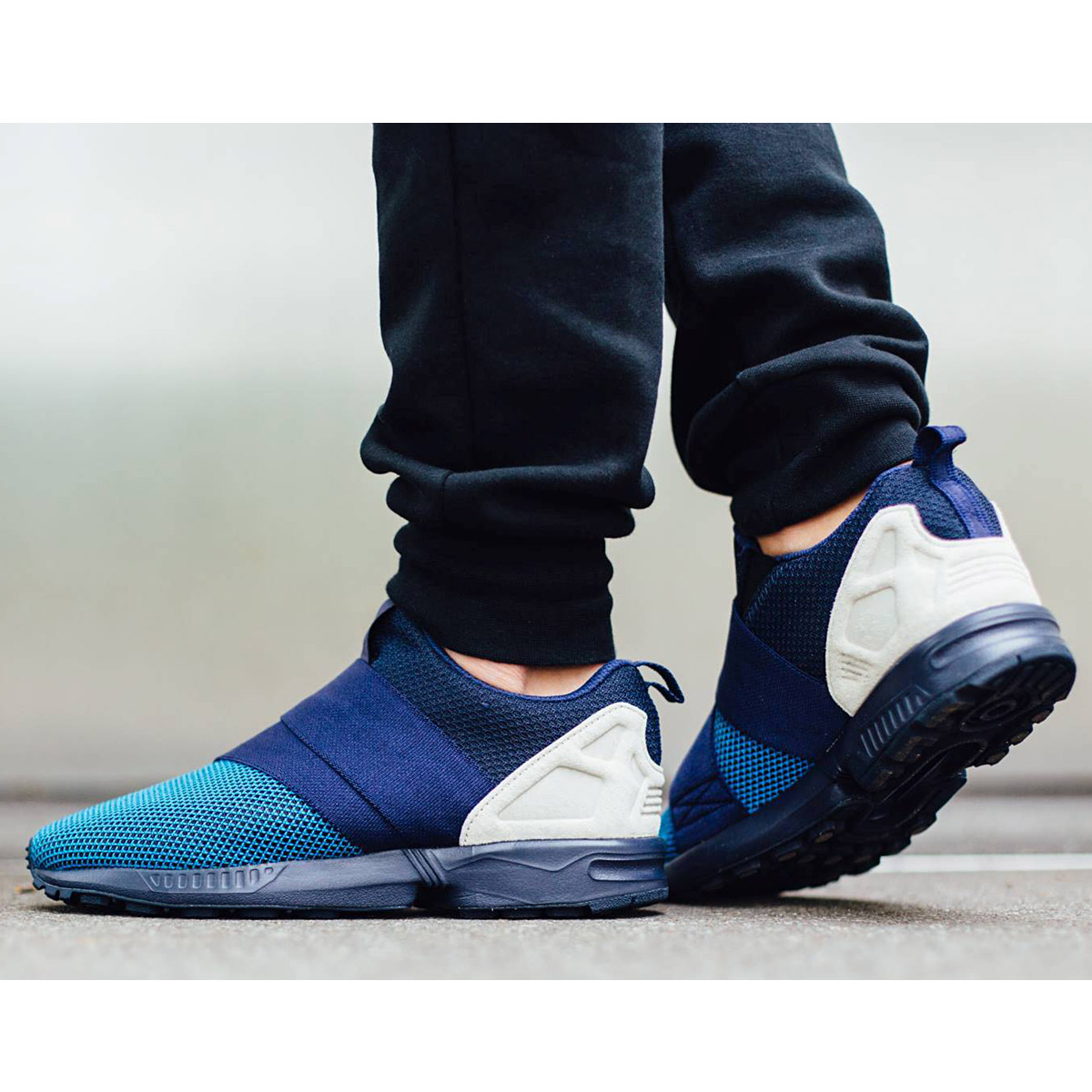 adidas originals zx flux slip on blau herren sneaker schuhe turnschuhe slipper ebay. Black Bedroom Furniture Sets. Home Design Ideas