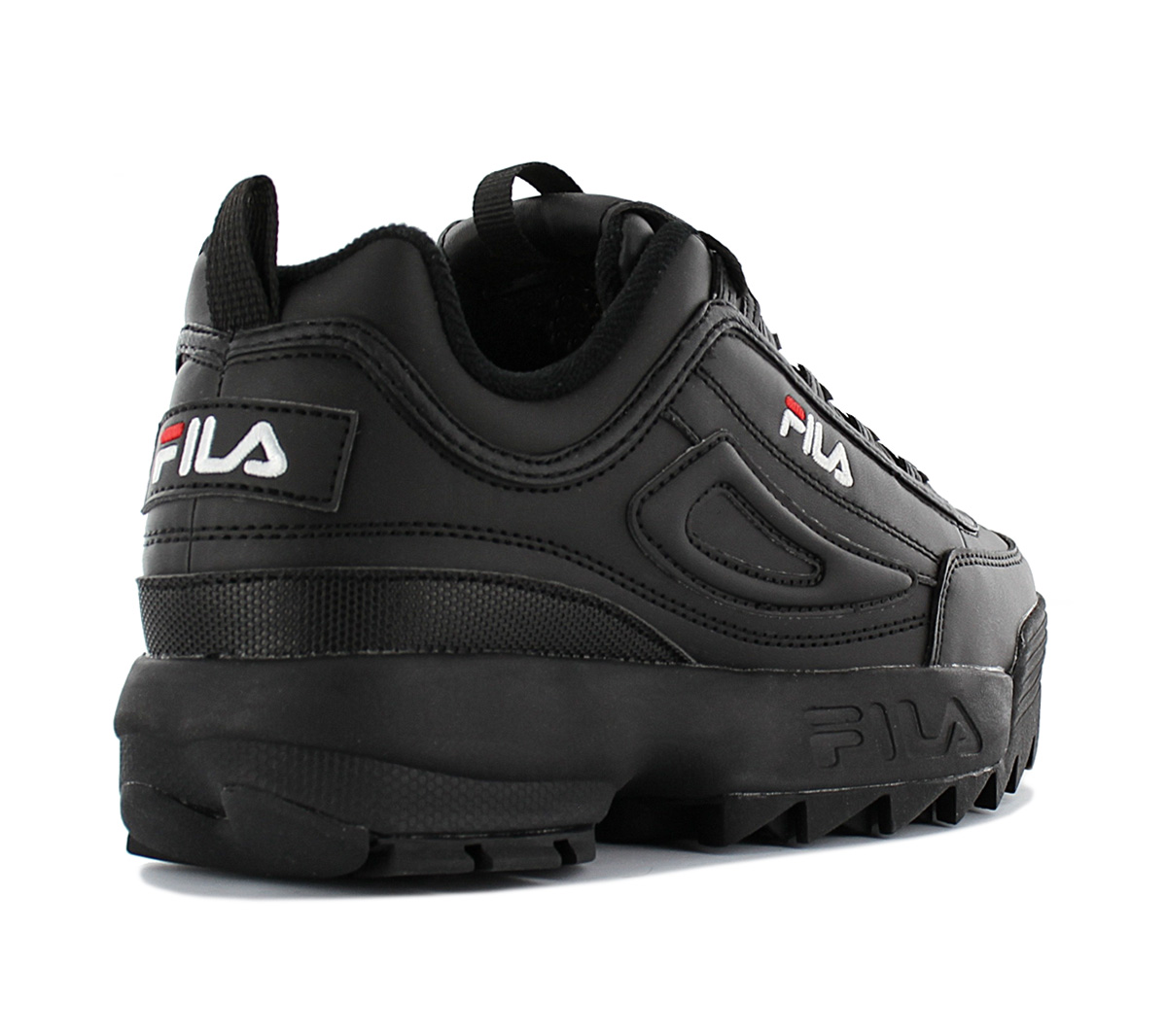 Details about Fila Disruptor Low W Women's Sneaker Shoes 1010302.12V Black Leather Trainers