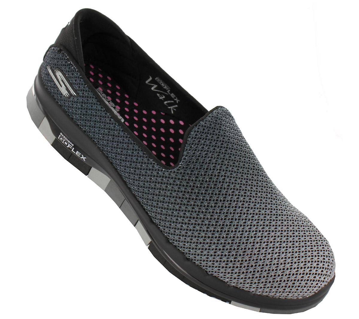 Details zu Skechers Go Flex Lotus Damen Slipper Schuhe Sneaker Walk Freizeit 14014 BKGY NEU