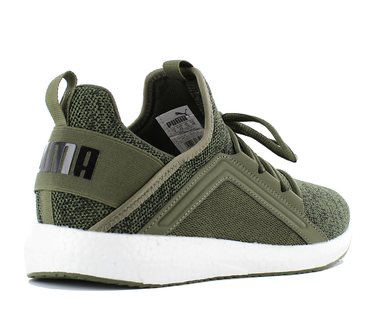 Puma Mega NRG Knit Shoes Men s Sneakers Olive Green Textile Trainers ... e8d3ec9e4
