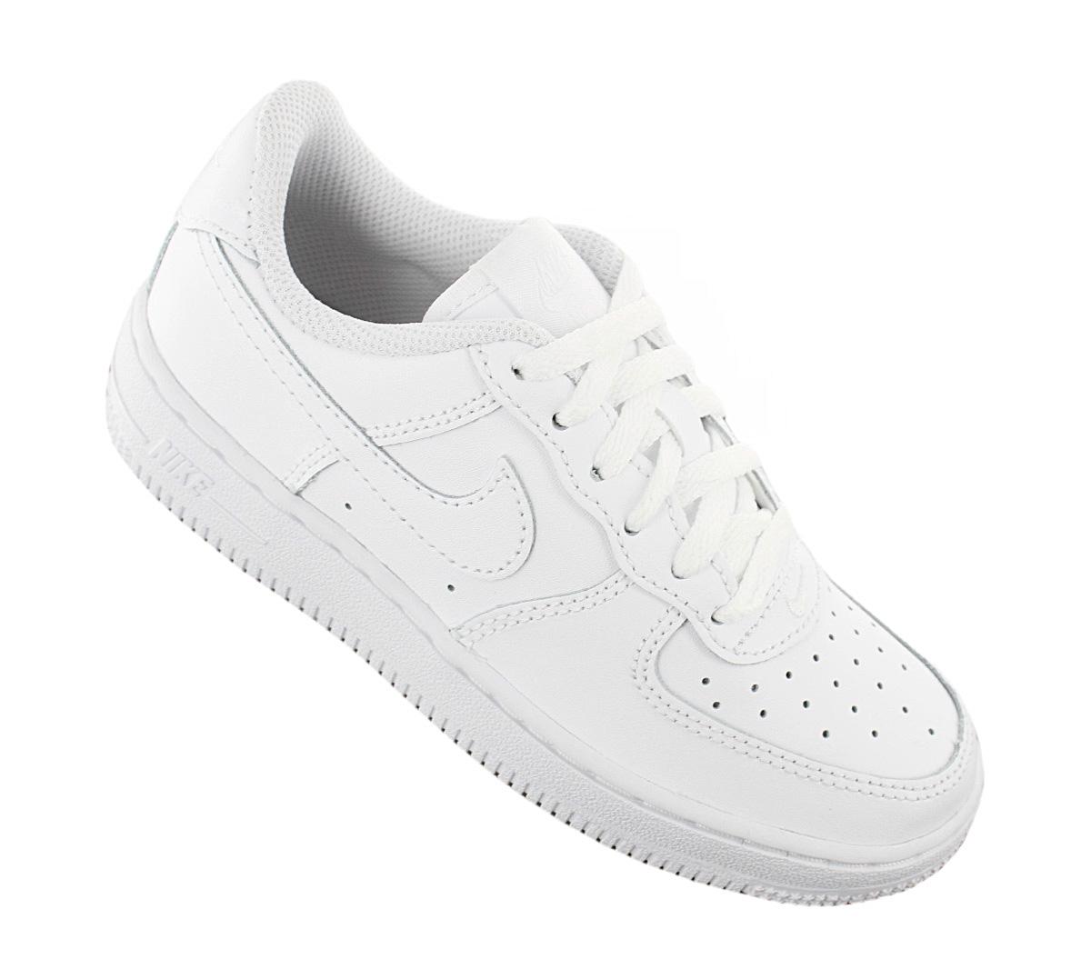 Detalles de Nike Air Force 1 Low Leather Ps Niños Sneaker 314193 117 Piel Blanco Zapatos Neu