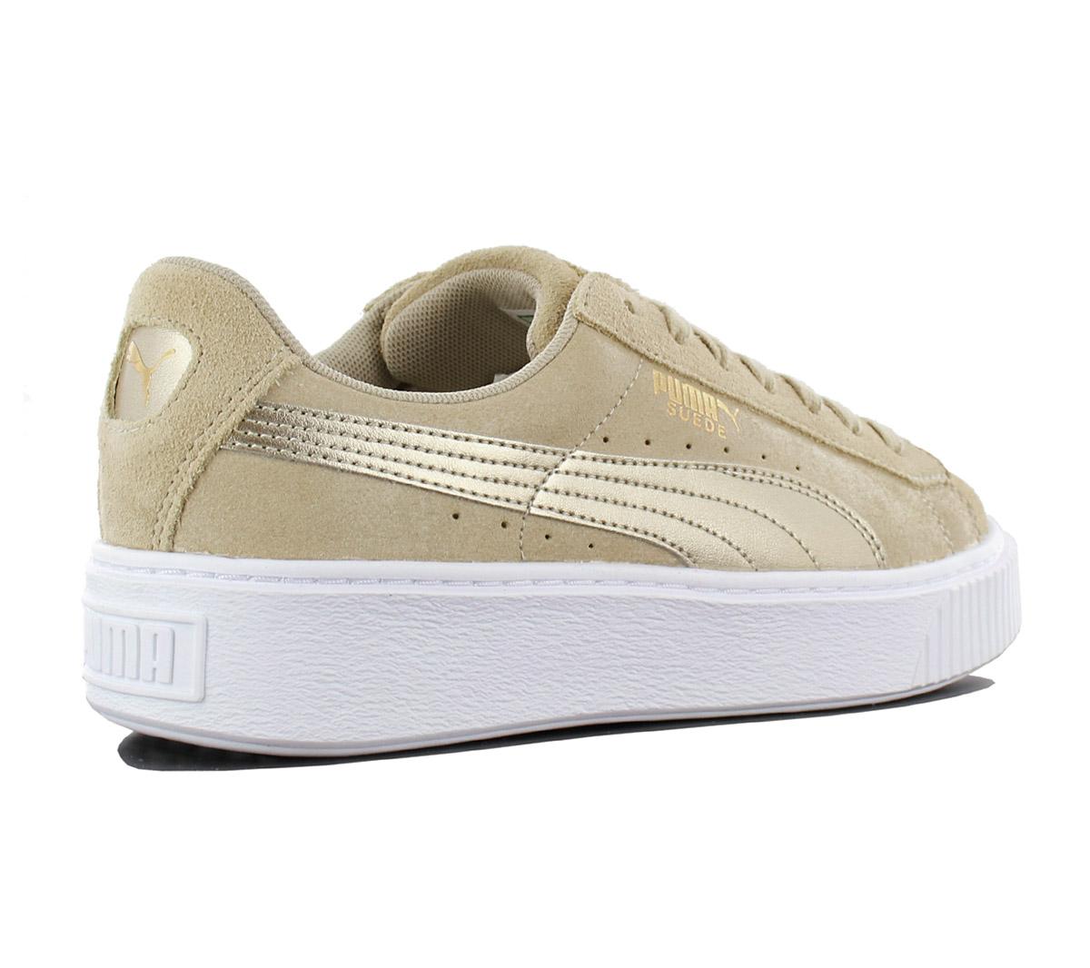Details zu Puma Suede Platform Safari Damen Sneaker Leder Schuhe 364594 01 Beige Turnschuhe