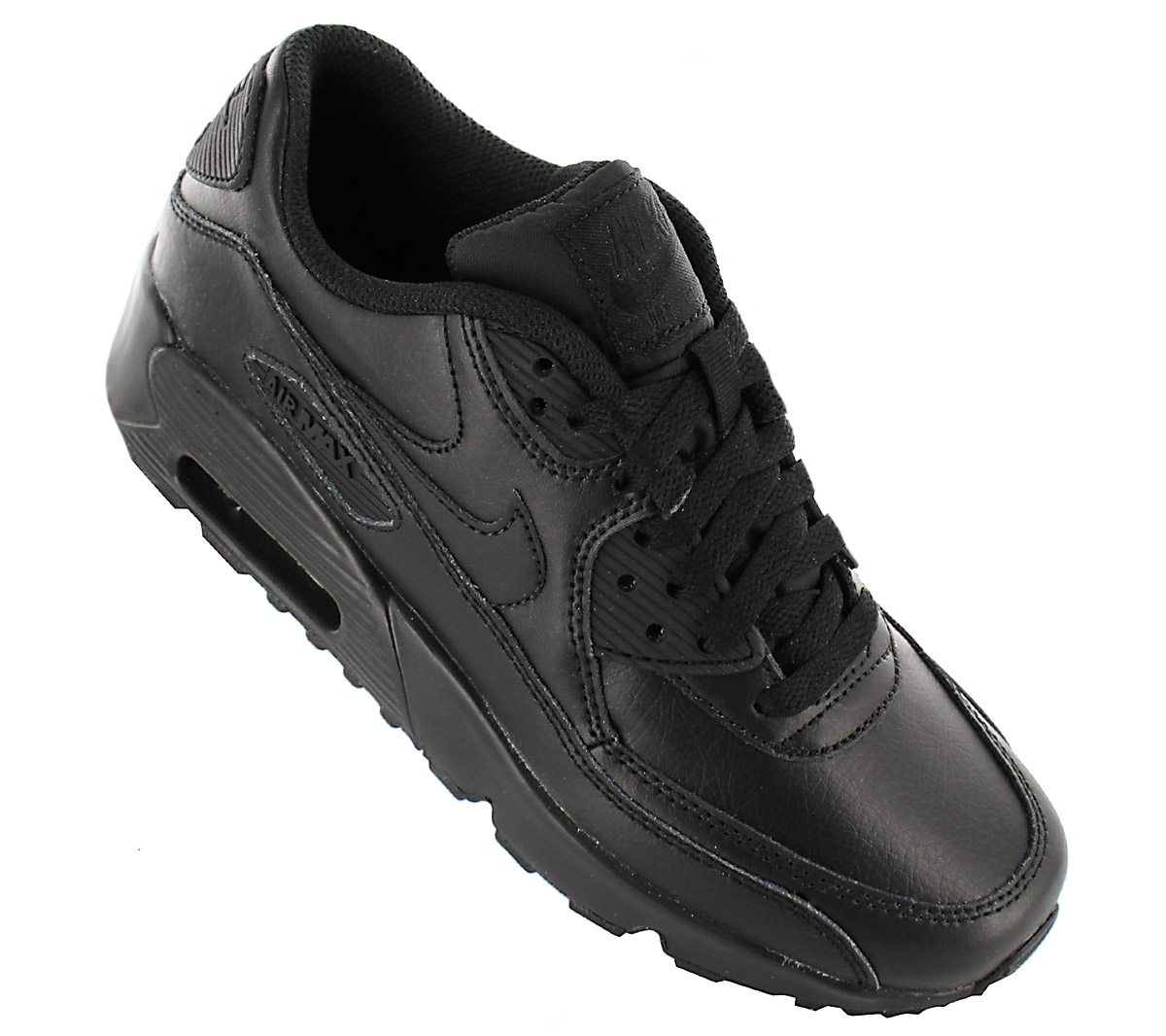 Details about Nike air max 90 Leather Women's Sneaker Shoes Leather Black 833412 001 Trainers