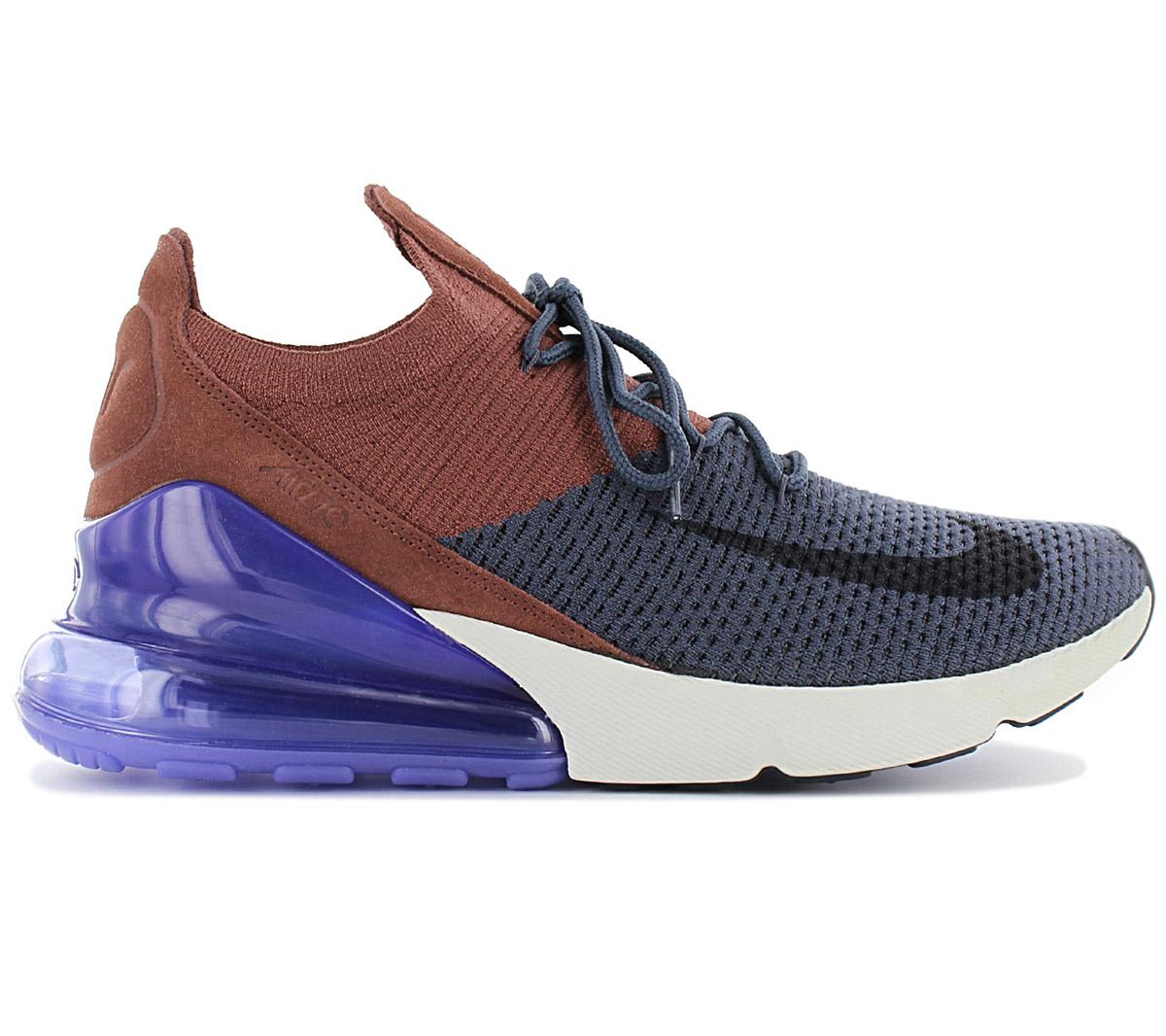 Detalles de Nike air max 270 Flyknit Hombre Sneaker AO1023 402 Azul Marrón Zapatos Deporte