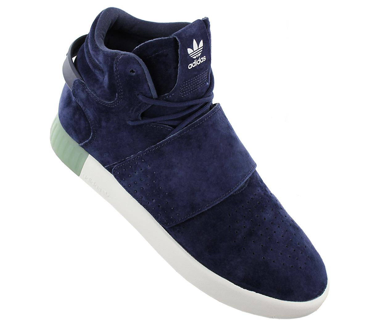 NEU adidas Originals Tubular Invader Strap Herren Schuhe Wildleder Blau BB5041 S