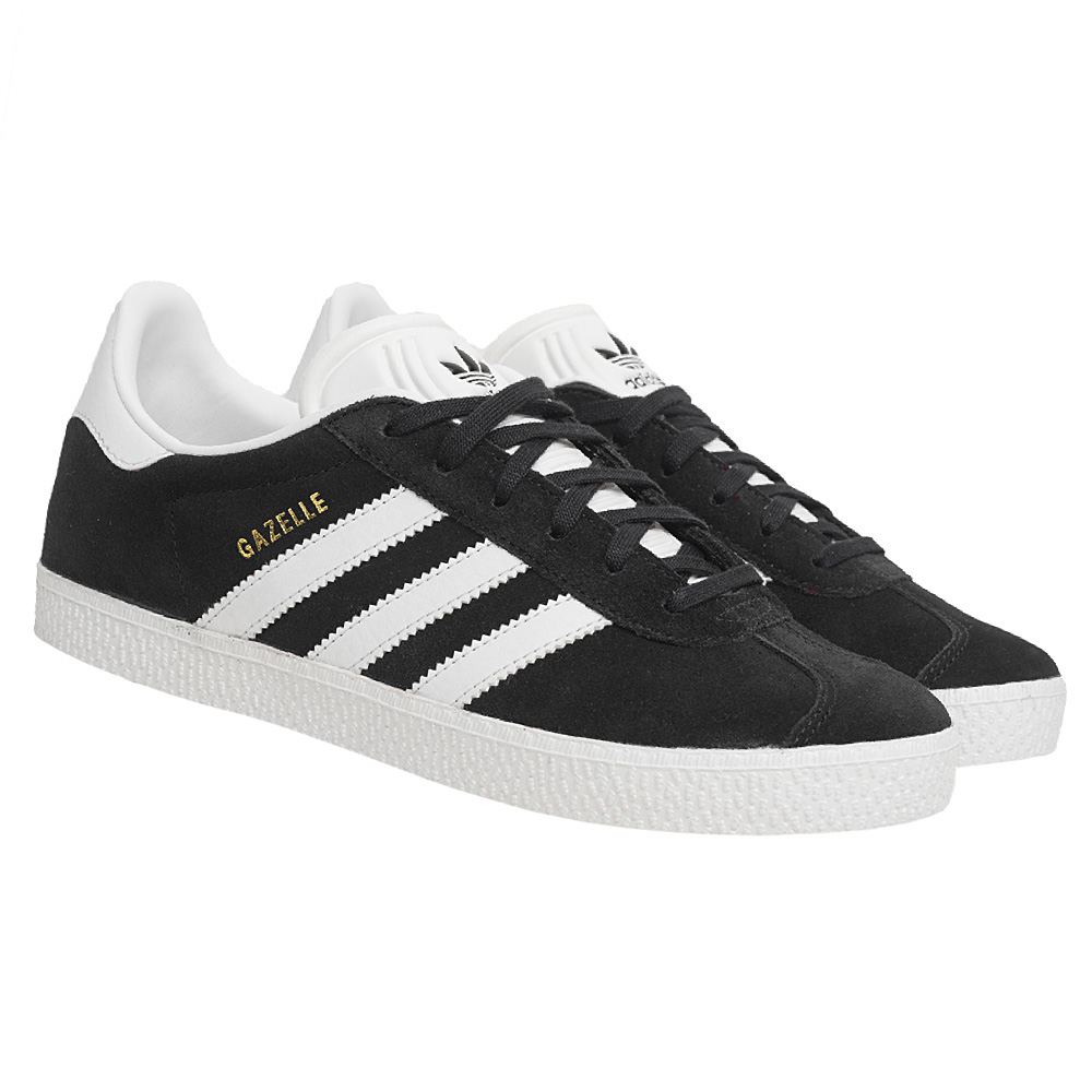 Adidas originali gazzella 2 uomini scarpe nere di pelle retro