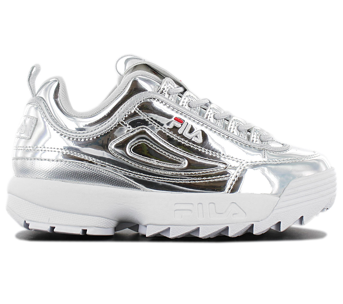 Details about Fila Disruptor M Low Women's Sneaker 1010608.3VW Metallic Silver Shoes New