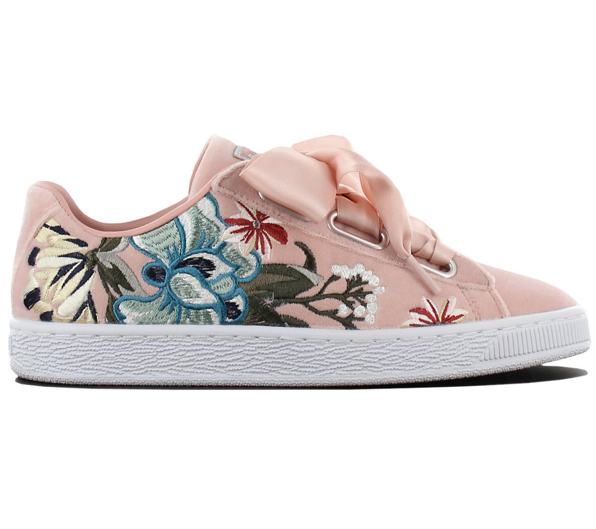 c929fdea030840 Puma Basket Heart Hyper Flower Emb Ladies Trainers Shoes