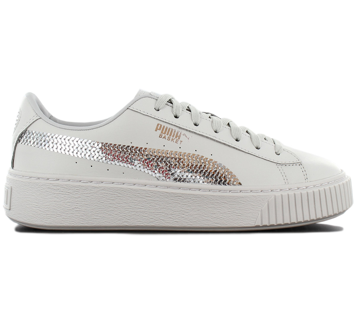 huge discount 554bc d1775 Details about Puma Platform Basket Bling Sneaker Women's Platform Shoes  367237-02 Grey New