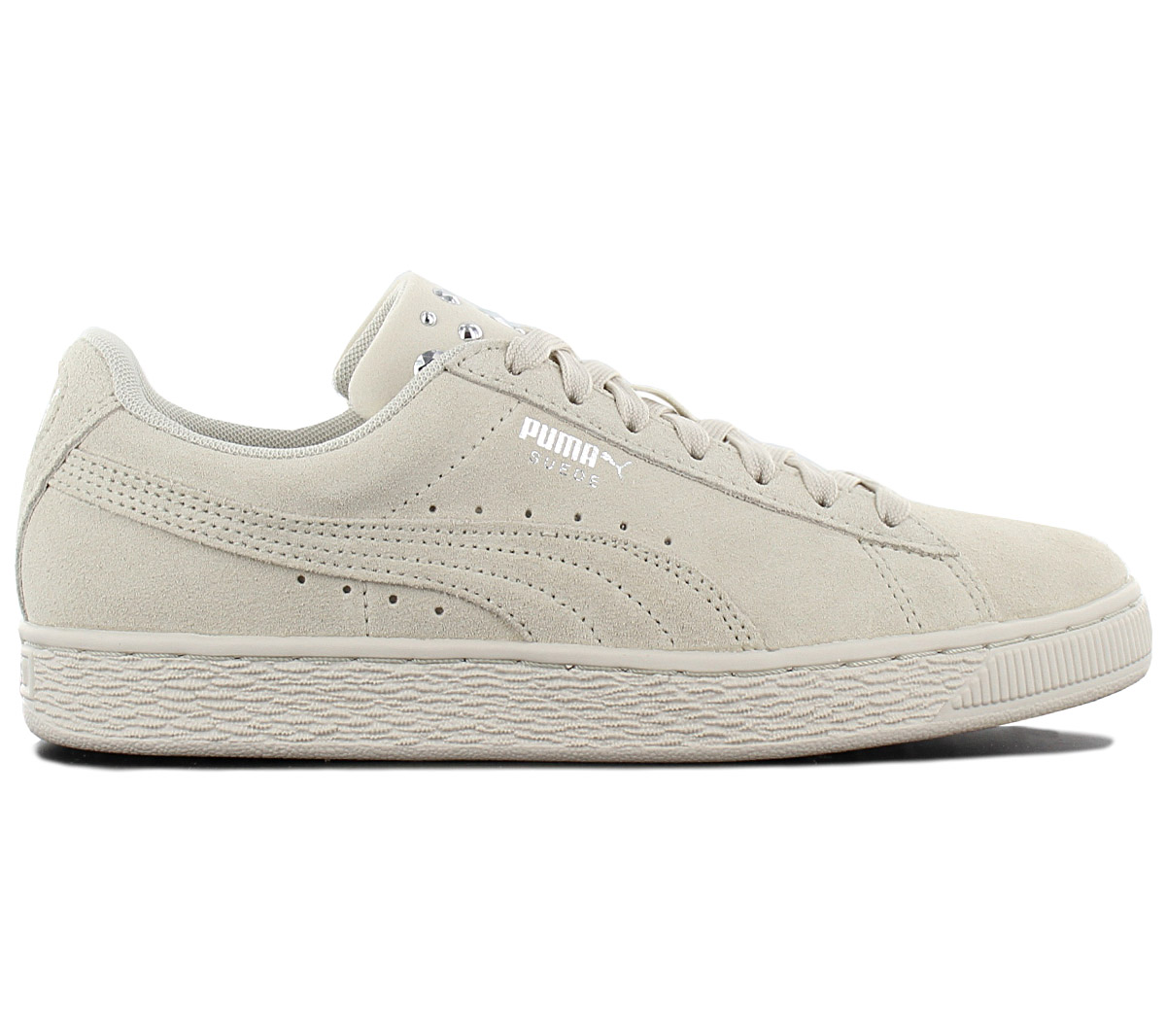 Details about Puma Suede Jewel Women's Sneaker Shoes 367273 02 Leather Beige Trainers New