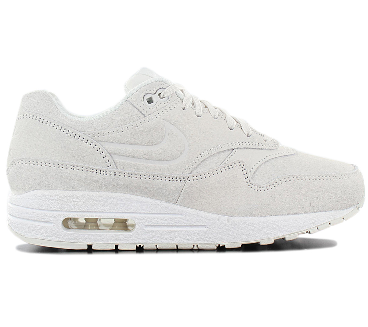 Details about Nike Air Max 1 Premium Women's Sneakers 454746 111 Leather Gray Shoes New
