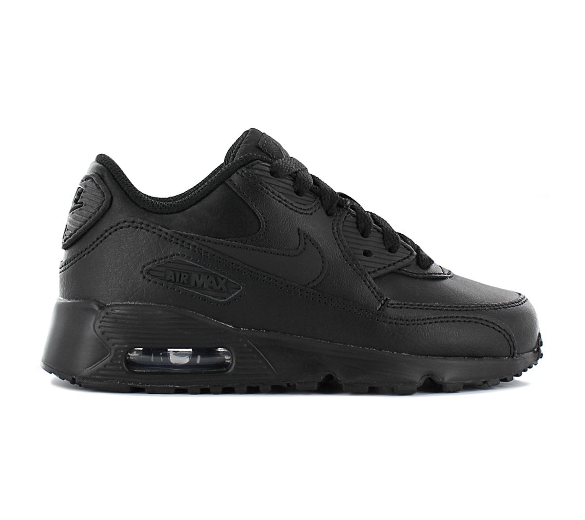 Details zu Nike Air Max 90 Leather (PS) Kinder Sneaker 833414 001 Leder Schwarz Schuhe NEU