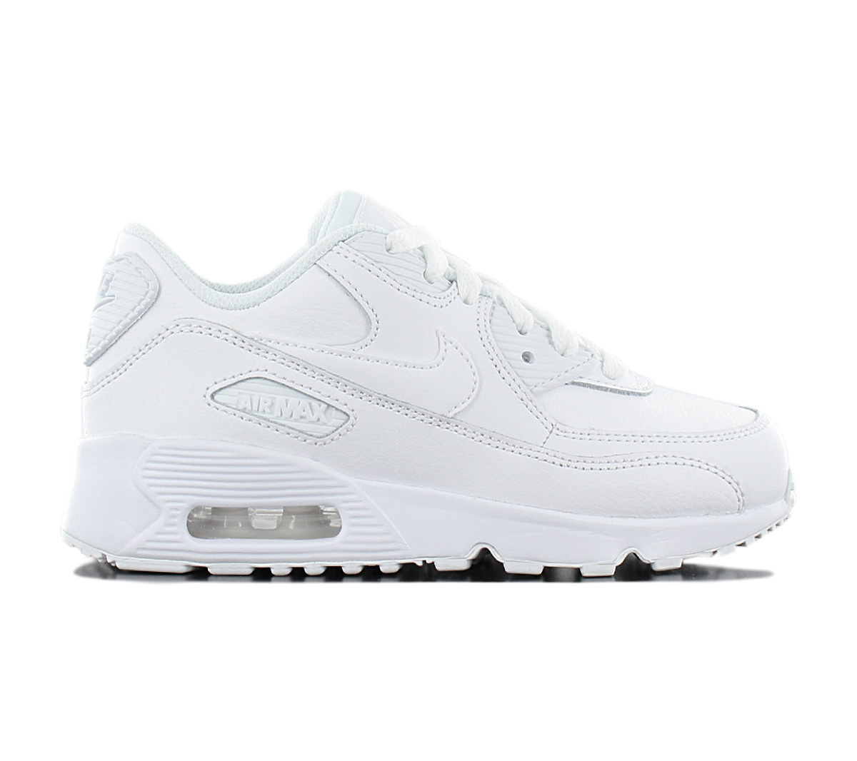 Details about Nike air max 90 Leather Children Sneaker 833414 100 Leather White Shoes New