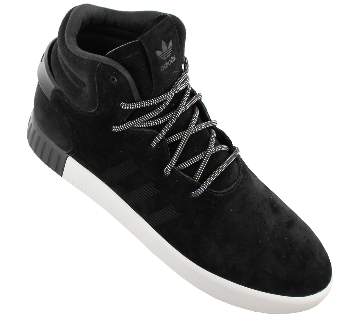 Adidas Originals Tubular Invader Men s Sneakers Shoes Leather Black ... 311e5fdee