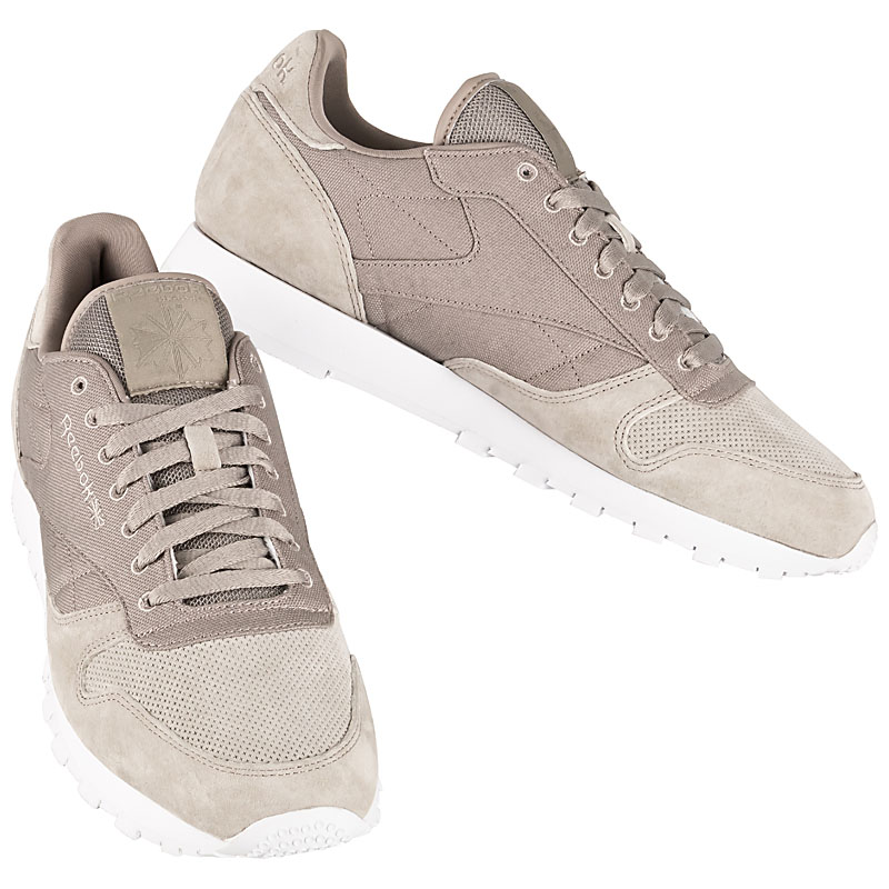 Reebok Classic Leather Men Classics Trainers Beige Mens Leather Shoes CL RBK