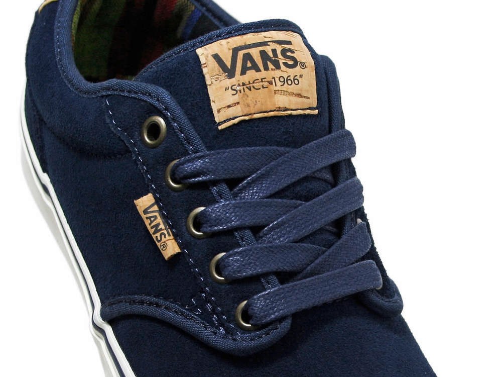 f8e1e801230 Vans Atwood Deluxe Shoes Men s Leather Sneakers Blue Gym Shoe New ...