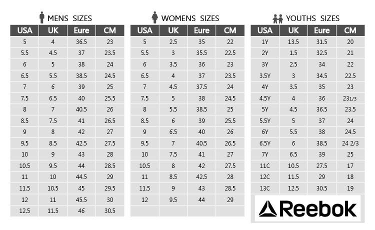 Reebok Men S Size Guide